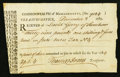 Colonial Notes:Massachusetts, Massachusetts Treasury Certificate £39.1s.4d December 3, 1785 VeryFine.. ...