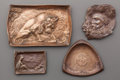 Silver Holloware, American:Trays, FOUR GORHAM PATINATED BRONZE TRAYS, Providence, Rhode Island, circa1900. Marks: (anchor), GORHAM MFG. CO., 010; 015; QBT;...(Total: 4 )