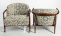 Post-War & Contemporary:Contemporary, IB KOFOD-LARSEN (Danish, 1921-2003). Pair of Lounge Chairs,circa 1960. Walnut, fabric upholstery, casters. 28 x 29 x 29...(Total: 2 Items)