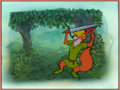 Animation Art:Production Cel, Robin Hood Production Cel Setup on Master ProductionBackground (Walt Disney, 1973)....