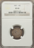 Bust Dimes: , 1827 10C XF45 NGC. NGC Census: (14/206). PCGS Population (23/220).Mintage: 1,300,000. Numismedia Wsl. Price for problem fr...