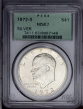 Eisenhower Dollars: , 1972-S $1 Silver MS67 PCGS. Well struck and lustrous, with a few small areas of light toning ...