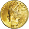 Indian Eagles: , 1912 $10 MS67 PCGS. Ex: Kruthoffer. Like the 1911, the 1912 is amore available early P-mint that is often used for type pu...