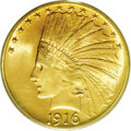 Indian Eagles: , 1916-S $10 MS65 PCGS. Ex: Duckor Collection. The 1916-S eagle has acomparatively low mintage of 138,500 pieces. Most of th...