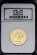 Liberty Eagles: , 1841 $10 AU50 NGC. This coin exhibits appreciable prooflikesurfaces around the peripheral stars and letters. Despite this,...