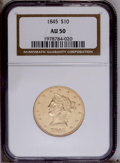 Liberty Eagles: , 1845 $10 AU50 NGC. Luster outlines design recesses, and the strikeis sharp for the type despite rub from brief circulation...