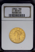 Liberty Eagles: , 1846 $10 VF20 NGC. A bright but attractively detailed example. Acouple of light handling marks do not distract the eye. Th...