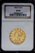 Liberty Eagles: , 1852-O $10 XF40 NGC. A bright peach-gold piece with noticeableremaining luster and generally smooth surfaces. A shield rin...