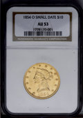 Liberty Eagles: , 1854-O $10 Small Date AU53 NGC. Bright luster outlines peripheralelements. The stars are flat, but the major devices are n...