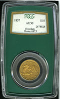 "Liberty Eagles: , 1857 $10 AU50 PCGS. Overdate, Breen-6925. ""Curve of another digitbetween 57, touching the curve of 5 and the serif of 7. I..."