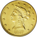 Liberty Eagles: , 1857-O $10 XF45 PCGS. A well-known rarity among O-mint eagles, witha mintage of 5,500 examples. This lovely example is a g...