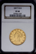 Liberty Eagles: , 1857-S $10 XF40 NGC. The devices show noticeable wear, butremaining luster is generous for the grade. A few small marks af...