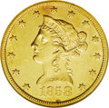 Liberty Eagles: , 1858-S $10 AU55 NGC. A sharply struck coin that retains some lusterin the fields and a pleasing appearance. There is a thi...