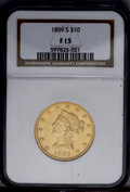 Liberty Eagles: , 1859-S $10 Fine 15 NGC. Liberty's hair and the eagle's plumageexhibit substantial wear, yet the shield and lower half of t...