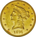 Liberty Eagles: , 1876 $10 AU58 NGC. Although not on the same order of rarity as thenear-mythical 1875 Philadelphia issue, the 1876 is quite...