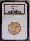 Liberty Eagles: , 1880-S $10 MS62 NGC. A fully lustrous and moderately abraded scarcer date Liberty eagle that possesses apricot-tinged cente...