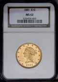 Liberty Eagles: , 1881 $10 MS62 NGC. A prooflike piece, although not designated as such by NGC. The strike is assertive and the reverse is we...