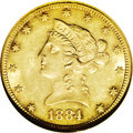 Liberty Eagles: , 1884-CC $10 AU55 NGC. This coin's obverse boasts an unusual butpretty two-toned appearance, with generous daubs of hazel-g...