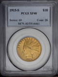 Indian Eagles: , 1915-S $10 XF40 PCGS. This scarce, low mintage (59,000 pieces)representative displays deep honey-gold color. Nice definiti...
