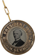 Political:Ferrotypes / Photo Badges (pre-1896), Seymour & Blair: A Large 1868-dated Ferro....