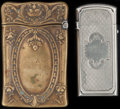 Silver Smalls:Match Safes, A GORHAM BRASS AND A SILVER-PLATED MATCH SAFE, Providence, RhodeIsland, circa 1865-1880. Marks to both: (lion-anchor-G), ...(Total: 2 )