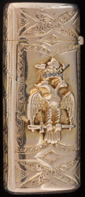 Silver Smalls:Match Safes, A 14K GOLD AND GOLD QUARTZ MATCH SAFE ATTRIBUTED TO SHREVE &CO., San Francisco, California, circa 1905. Marks: 14K.2-3...