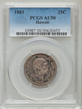 Coins of Hawaii: , 1883 25C Hawaii Quarter AU50 PCGS. PCGS Population (85/1487). NGCCensus: (29/1119). Mintage: 500,000. ...