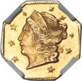 California Fractional Gold , 1871 25C Liberty Octagonal 25 Cents, BG-720, R.7, MS65 NGC....
