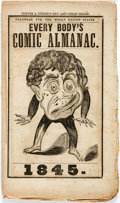 Books:Americana & American History, [Almanac] Every Body's Comic Almanac. 1845. Self-wrappers.Scattered foxing and edgewear. Large closed tear to the p...