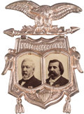 Political:Ferrotypes / Photo Badges (pre-1896), Blaine & Logan: A Spectacular, Pristine 1884 Jugate Pin....