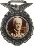 Political:Pinback Buttons (1896-present), John W. Davis: A Fine 1924 Campaign Watch Fob with Inset 7/8-inch Celluloid....