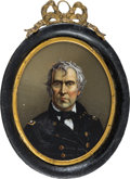 Political:Ferrotypes / Photo Badges (pre-1896), Zachary Taylor: Reverse on Glass Portrait in Original CompositionFrame....