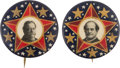 Political:Pinback Buttons (1896-present), Taft & Bryan: Matched Pair of Colorful 1 ¼-inch 1908 Pinbacks....