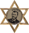 Political:Ferrotypes / Photo Badges (pre-1896), Ulysses S. Grant: Very Choice Ferro Pin in Classic Openwork StarFrame....