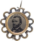 Political:Ferrotypes / Photo Badges (pre-1896), Ulysses S. Grant: Choice Ferrotype Pin in Fancy Frame....
