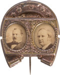 Political:Ferrotypes / Photo Badges (pre-1896), Cleveland & Hendricks: 1884 Jugate Pin in ExceptionalCondition....