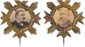 Political:Ferrotypes / Photo Badges (pre-1896), Cleveland & Harrison: A Matched Pair of Photo Pins.... (Total: 2 Items)