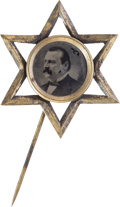 Political:Ferrotypes / Photo Badges (pre-1896), Grover Cleveland: A Most Unusual Ferrotype Campaign Pin....