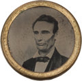Political:Ferrotypes / Photo Badges (pre-1896), Abraham Lincoln: A Most Unusual Double-Sided Ferrotype....