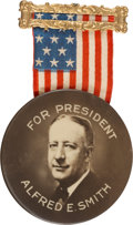 Political:Pinback Buttons (1896-present), Al Smith: Impressive 2 ½-inch Celluloid on this Choice Condition Badge....