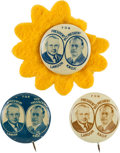 Political:Pinback Buttons (1896-present), Landon & Knox: Three Examples of this Litho Tin Jugate in Different Colors.... (Total: 3 Items)