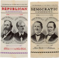 Political:Ribbons & Badges, Hayes-Wheeler and Tilden-Hendricks: Matched Pair of Woven 1876 Jugate Ribbons.... (Total: 2 Items)