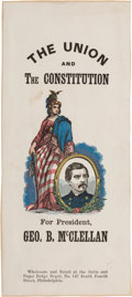 Political:Ribbons & Badges, George B. McClellan: Rare Large Paper Ribbon, the Mate to the Lincoln Also Appearing in this Auction....