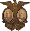 Political:Ferrotypes / Photo Badges (pre-1896), Cleveland & Stevenson: The Equally Scarce 1892 Jugate PinMatching the Harrison-Reid Also in This Auction....