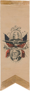 Political:Ribbons & Badges, Cleveland & Thurman: Unusual and Very Attractive 1888 Ribbon....