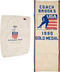 Hockey Collectibles:Others, 1980 Herb Brooks Personal Miracle on Ice Team USA Laundry Bag & Team Banner. ...