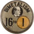 """Political:Pinback Buttons (1896-present), William Jennings Bryan: Rare, Colorful 1896 """"16 to 1"""" 7/8-inch Stud...."""
