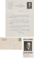Political:Small Paper (1896-present), Calvin Coolidge: Group of Three Paper Items.... (Total: 3 Items)