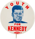 """Political:Pinback Buttons (1896-present), John F. Kennedy: """"Youth for Kennedy,"""". ..."""