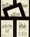 Books:Prints & Leaves, [Architecture.] Group of Five Black and White Plates Relating toCottages with Floor Plans. Various publishers, [n.d.]. ...